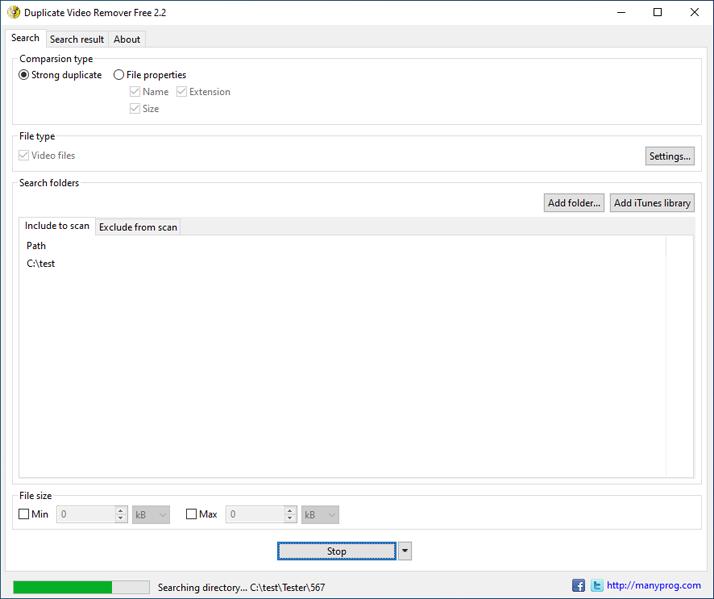 Windows 7 Duplicate Video Remover Free 2.2 full