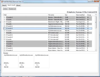 Поиск  дубликатов  аудио файлов