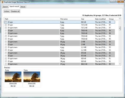 Найти дубликаты JPEG и удалить их